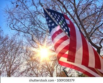 American flag and sun