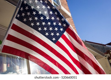 An American flag in the sunshine