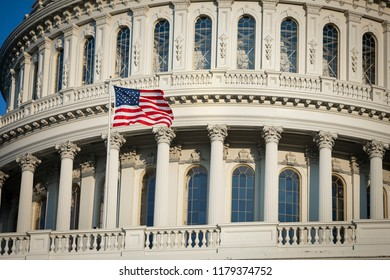 American flag symbol United States Capitol and the Senate Building, Washington DC USA