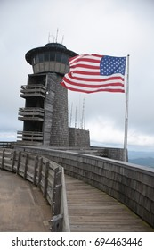 American Flag and Tall Tower