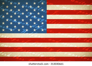 American flag - the text of the Constitution