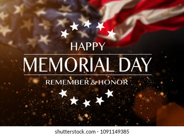 American flag with the text Memorial day. Celebration of all who served.