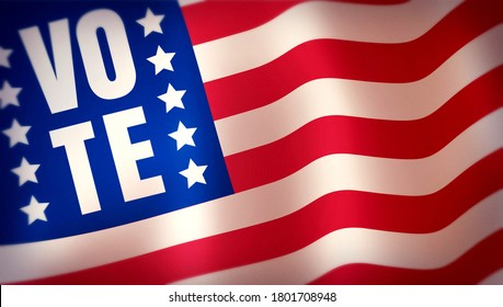 American flag and text of vote. Vintage banner for 2020 presidential election in USA. Vote 2020.