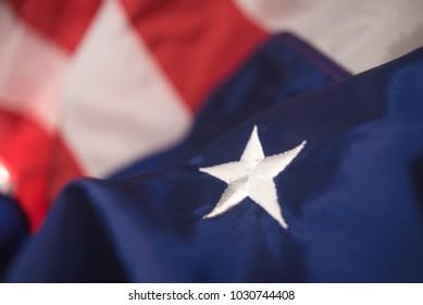 American flag textile. Selective focus