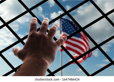 American flag through wire mesh, deportation concept