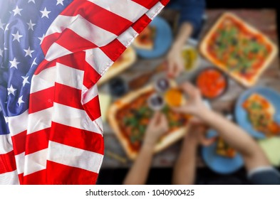 American Flag, US Flag, Independence Day, July 4,Happy Independence Day! Celebrating Independence Day in the open air. A table with various snacks, barbecue