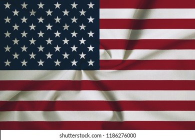 American Flag (USA), with a fabric texture