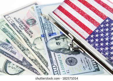 american flag wallet and US Dollar money