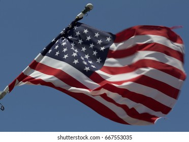 American flag waves proudly