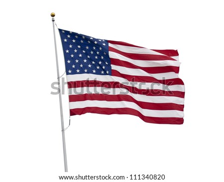 American flag waving isolated on white with clipping path
