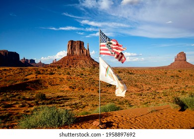 American flag waving in Monument Valley. Navajo Nation. East Mitten Butte. August 2020