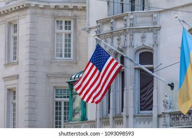 American flag waving in New york city