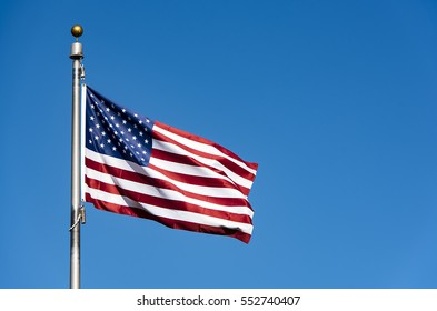 American Flag waving in New-York, USA