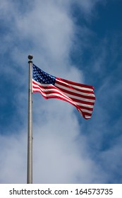 American flag waving on a cloudy sky background
