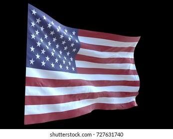 american flag waving in wind black background 3d illustration