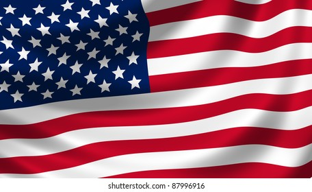 American flag waving in the wind detail