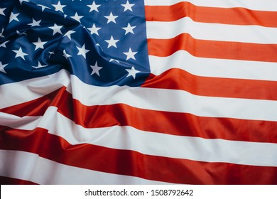 American flag waving in the wind. Flag USA as a patriotic background
