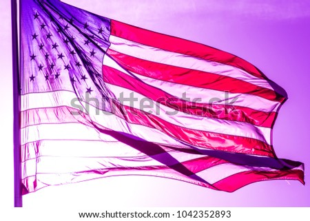 American Flag Waving In The Wind With A Violet Purple Finish Patriotic Symbol