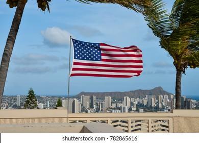 American Flag in the Wind, Honolulu, Hawaii