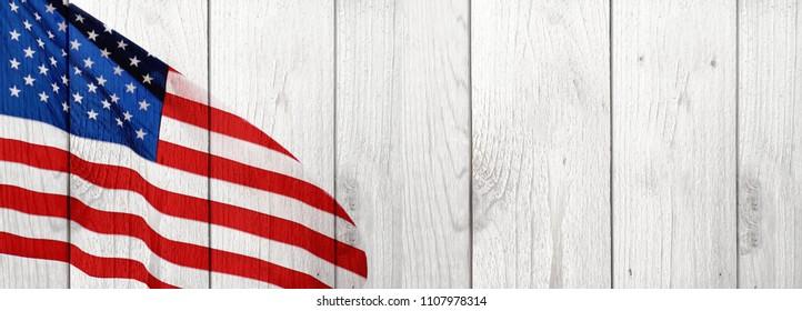 American Flag and Wood Celebration Background for United States Holidays