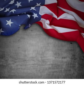 American flag and wooden background