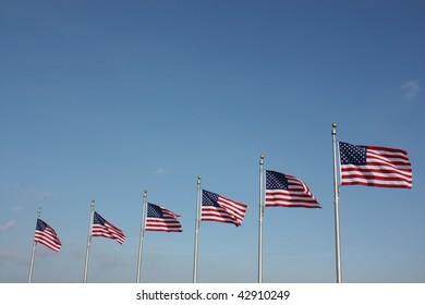 American flags around the Washington Monument, Washington, D.C.