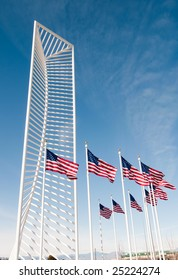 American flags blowing in the wind.