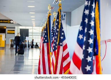 American flags. Flag of the USA located in the airport.