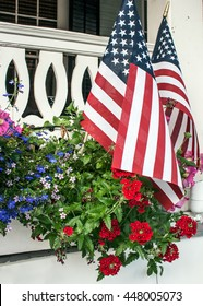 American flags in flowers on the Fourth of July in Cape May, New Jersey