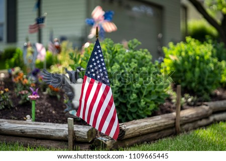 American Flags House Garden Stock Photo Edit Now 1109665445