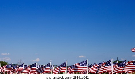 A lot of american flags. Memorial Day, Independence Day and Veterans Day celebration in USA
