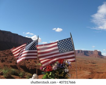 American Flags at Monument Valley