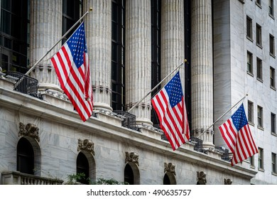 American Flags on the Building with Columns
