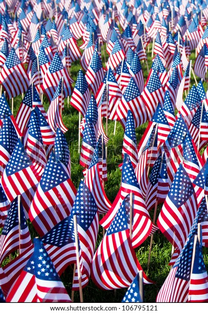 American flags on display for Memorial Day or July 4th - hundreds of flags cover a green field.  Vertical