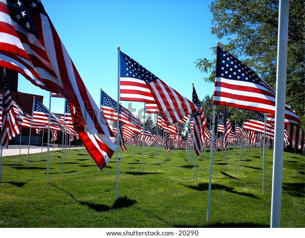 American Flags on display in tribute.