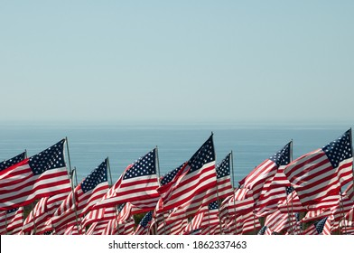 American flags on the sea background