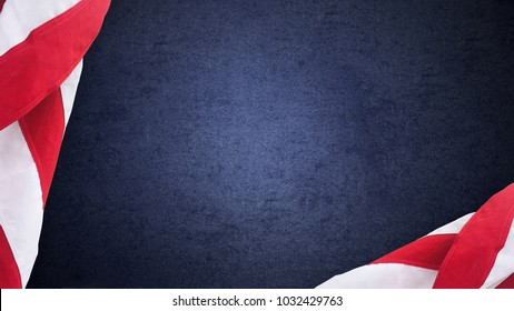 American Flags Over Blue Texture Background