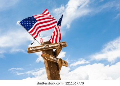 American flags waving from the top of Mammoth Mountain, Mammoth Lakes, California