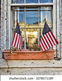 american flags in window