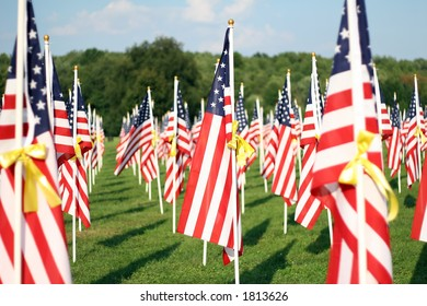 American Flags with Yellow Ribbons