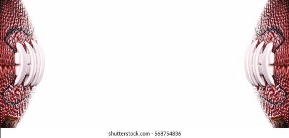 American football ball banner on white background and place for text