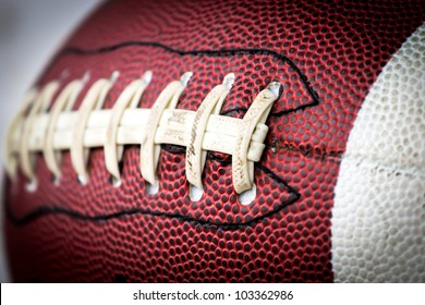 American football ball close up