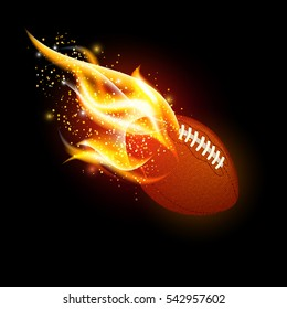 American football ball with fire flames on dark black background
