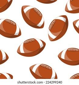 American football ball  illustration seamless pattern
