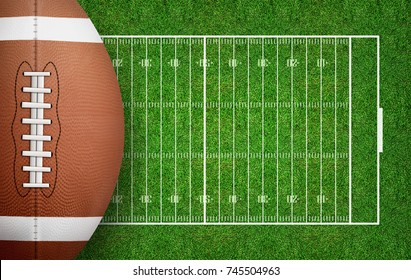 American football ball on football field pattern background. Football ball 3D illustration.