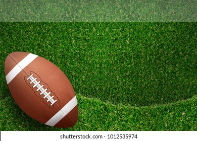 American football ball on green field with green grass curve pattern and texture for background.