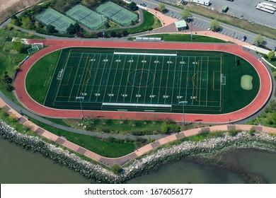 american football field aerial view panorama