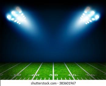 American Football field with bright stadium lights vector design