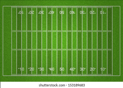 American Football Field with Dark and Light Grass Lines