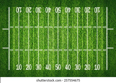 American football field on grass, view from top